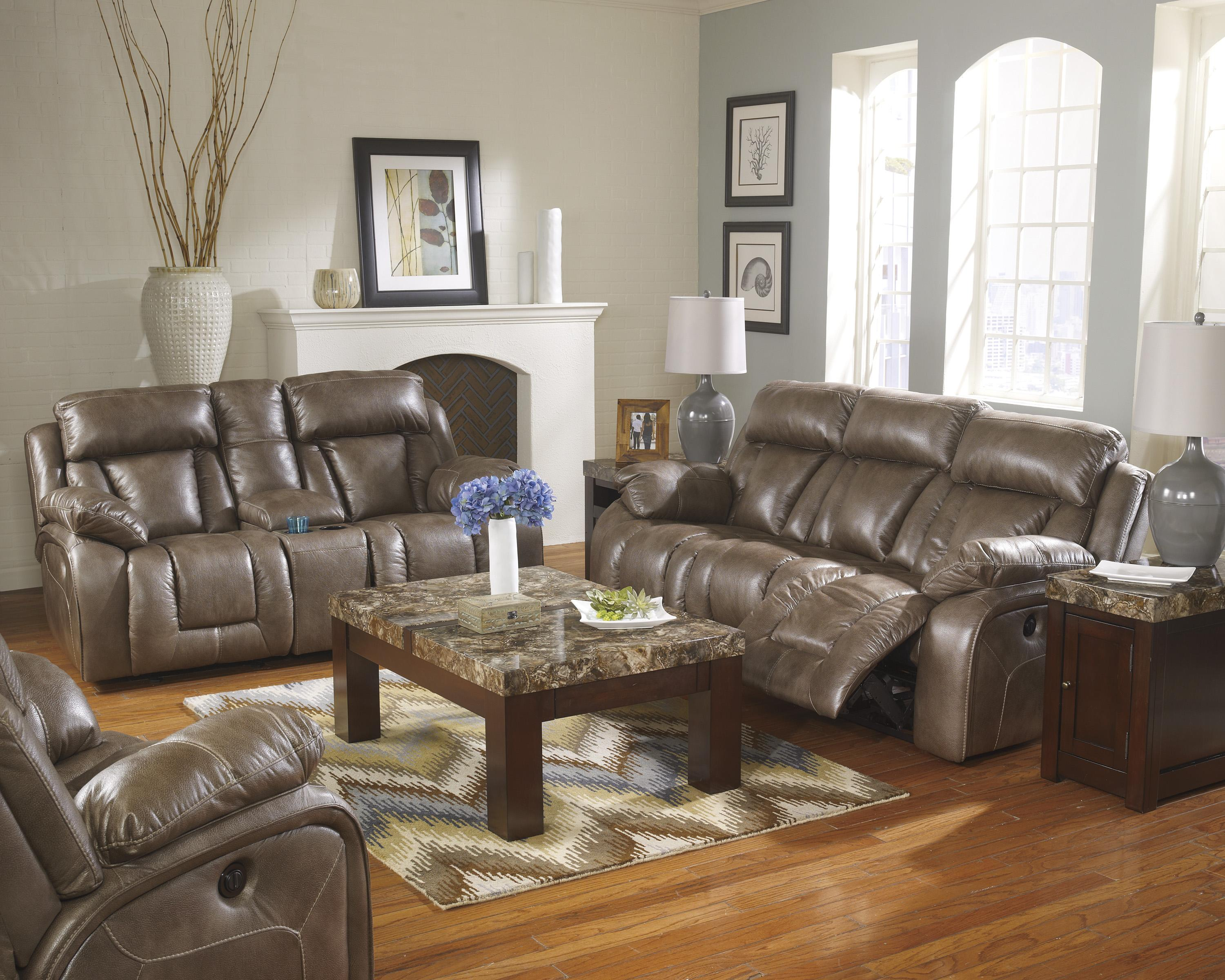 Ashley Furniture Loral - Sable Reclining Living Room Group - Item Number: 42200 Living Room Group 5