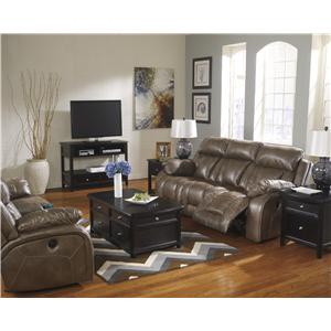 Ashley Furniture Loral - Sable Glider Reclining Power Loveseat w/ Console & Power Strip with USB Ports