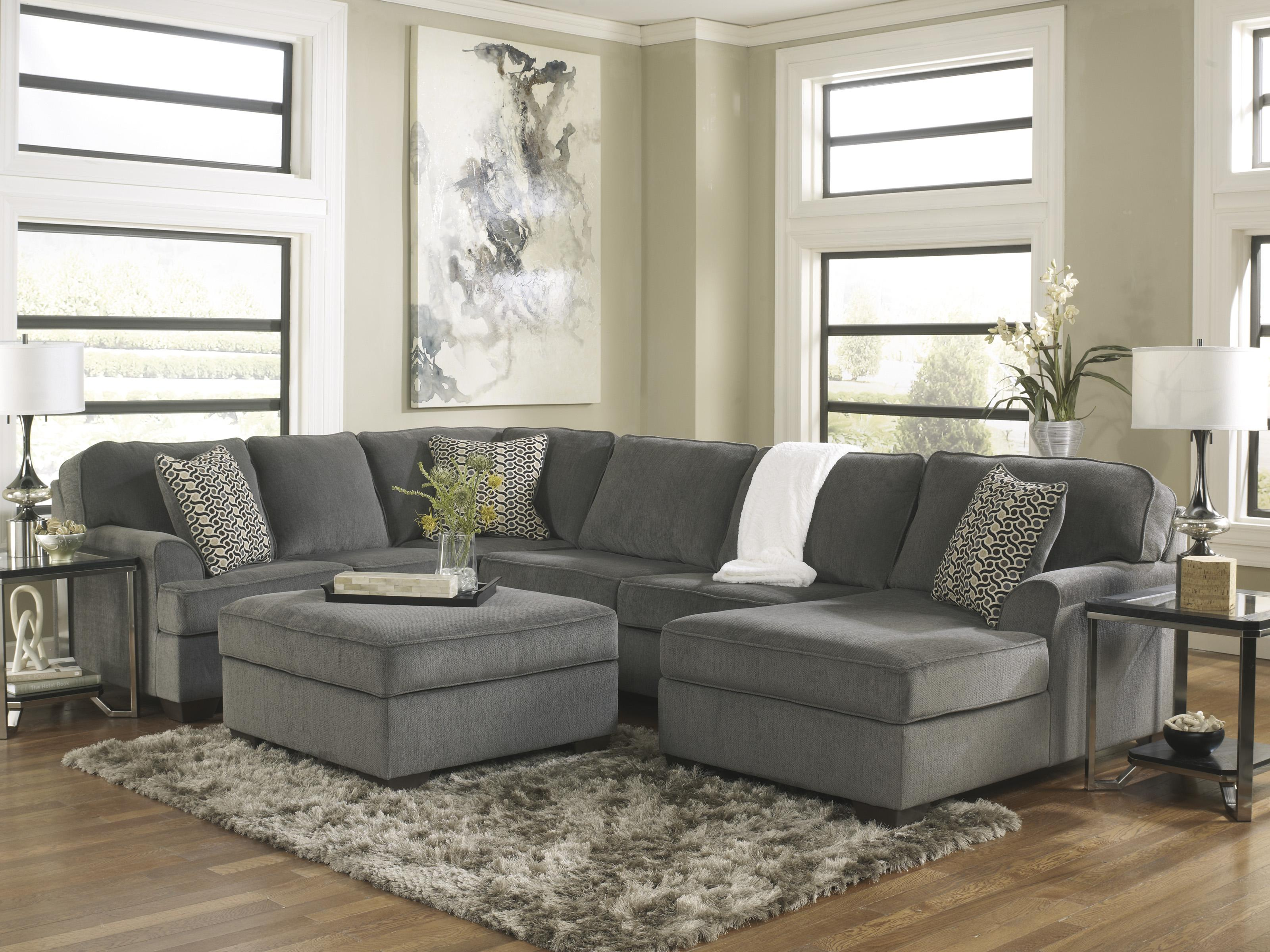 Ashley Furniture Loric - Smoke Contemporary 3-Piece Sectional with Right Chaise - Godby Home Furnishings - Sofa Sectional Noblesville Carmel Avon ... : ashley furniture sectionals - Sectionals, Sofas & Couches