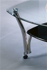 Clear Beveled Glass Tops and Welded Metal Legs.