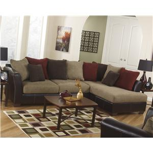 Ashley Furniture Sanya - Mocha Faux Leather/Fabric Loveseat