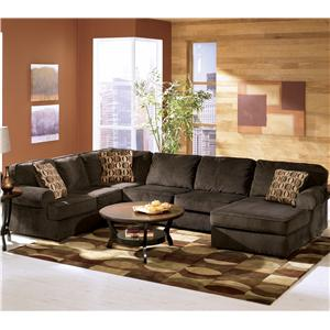 Ashley Furniture Vista - Chocolate Casual 3-Piece Sectional with Left Chaise : ashley furniture chaise couch - Sectionals, Sofas & Couches