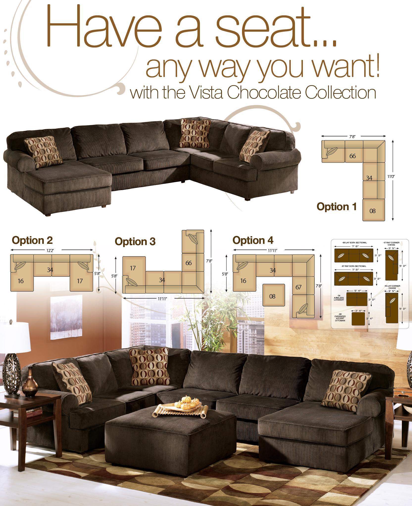 Ashley Furniture Vista - Chocolate Casual 3-Piece ...