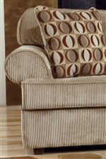 Broad Rolled Arms and Plush Cushions Create Casual Comfort