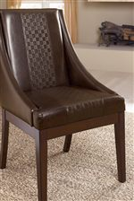 Brown Faux Leather Upholstered Arm Chair with Weave Texture
