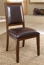 Brown Faux Leather Upholstered Side Chair