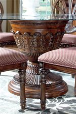 Single Pedestal Table with Round Glass Top