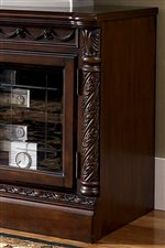 V-Groove Glass Doors and Carved Details on TV Stand