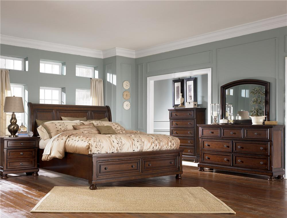 Ashley Furniture Porter Queen Sleigh Bed With Storage Footboard | L Fish |  Sleigh Beds