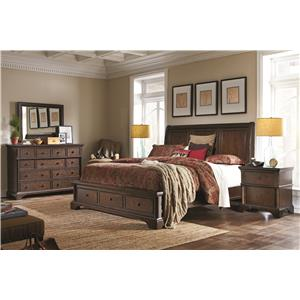 Aspenhome Bancroft California King Sleigh Storage Bed with Lamp Assist