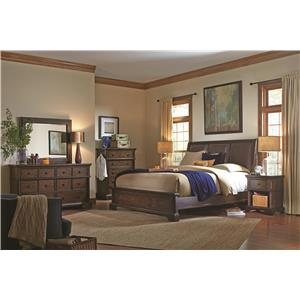 Aspenhome Bancroft Upholstered Mirror with Bonded Leather and Nail Head Trim