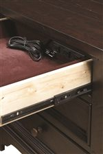 Felt Lined Top Drop Drawer With Built-in AC Outlet