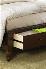 Storage Drawers on Sleigh Bed Footboard
