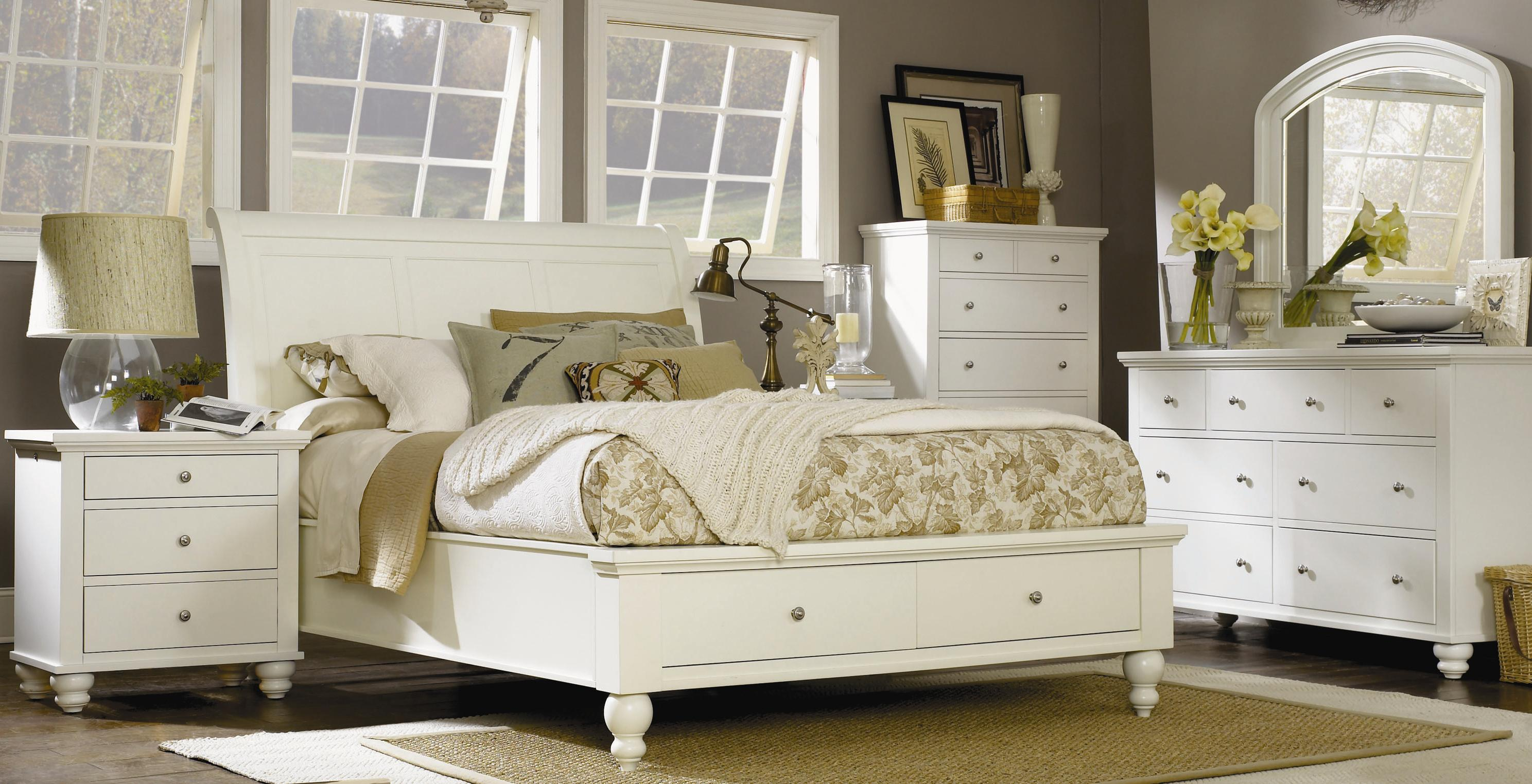 Aspenhome Cambridge King Size Bed with Sleigh Headboard & Drawer