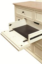 Chesser Features Flip-Down Middle Center Drawer