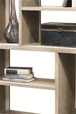 Horizontal Shelving with Vertical Dividers Establish a Geometric Motif and Ample Open Storage