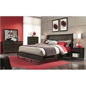 Morris Home Furnishings Harper Point King Contemporary Herringbone Bed with Graphite Finish