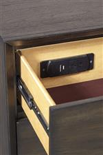 USB Port and Two AC Outlets Featured in Two Drawer Nightstand