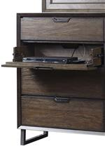 Drop Front Drawer with HDMI Port, RCA Plugins, and AC Outlets