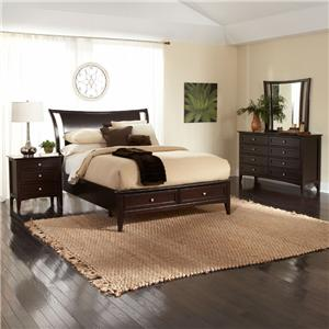 Aspenhome Kensington  Queen-Size Platform Bed with Sleigh Headboard & Storage Footboard