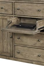 Drop Front Drawer Allows for Easy Access to Media Components