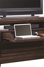 Pieces are Equipped with Smart Storage Solutions like Flip-Down Drawers with Outlets