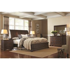 Morris Home Furnishings Westbrooke Queen Sleigh Storage Bed with Lamp Assist