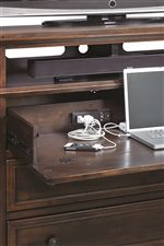 A Drop-Front Drawer with AC/HDMI Outlets Instantly Converts the Media Chest into a Work Station