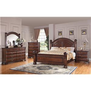 Austin Group Isabella 527 Traditional Queen Bed With Square Finials And  Round Headboard