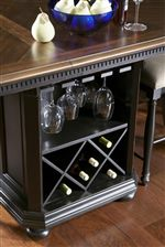 Kitchen Island/Counter Table with Glassware Storage and Bottle Storage