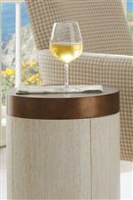Select pieces feature burnished brass accents