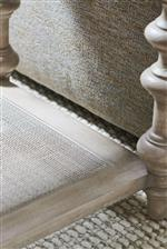 Mixed materials like woven cane and concrete add character to this collection