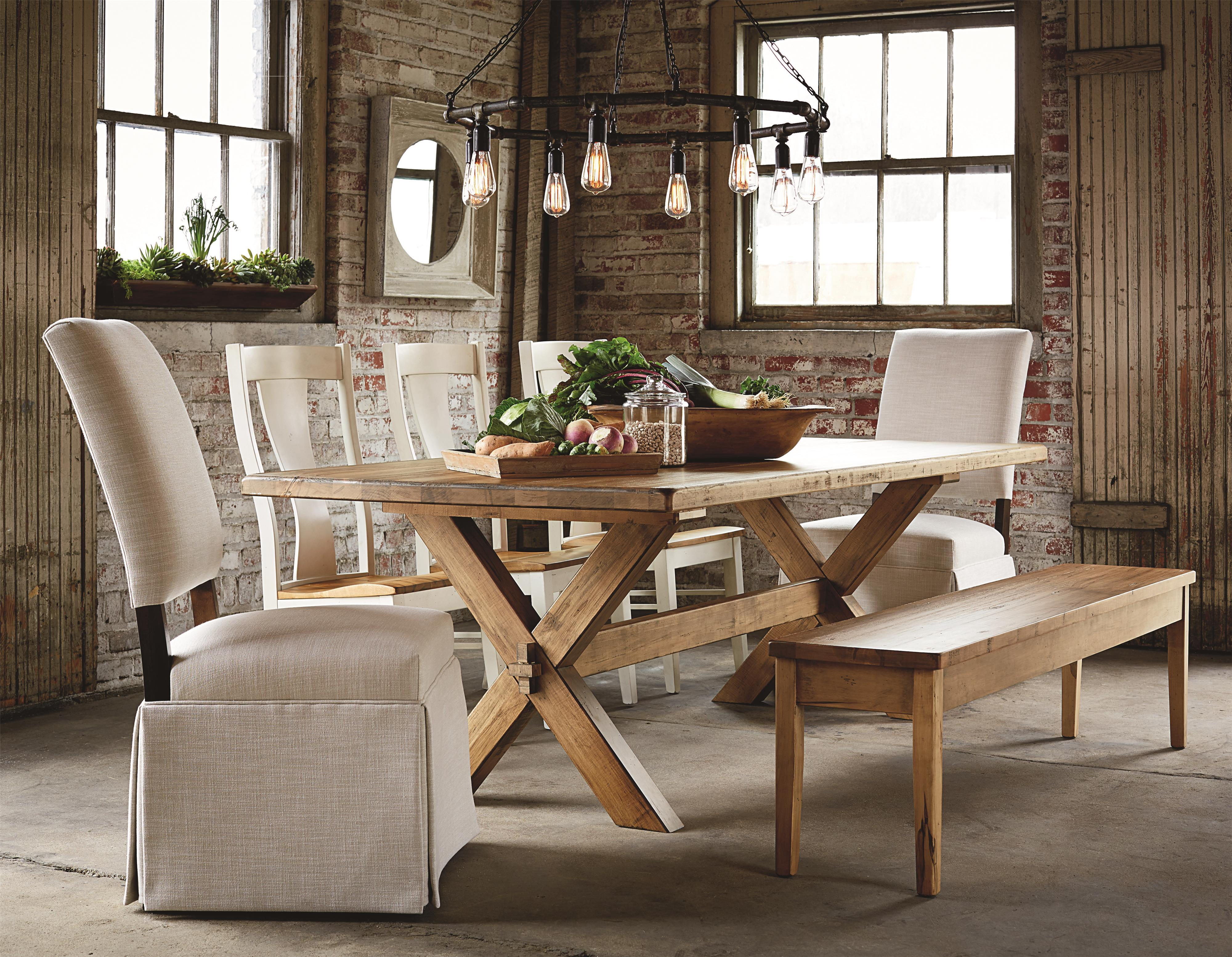 Bassett Bench Made 72 Rectangular Table With Industrial Style