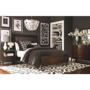 Bassett Cosmopolitan Transitional Queen Sleigh Bed with Leather Headboard and Storage Footboard