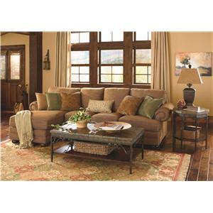 Bassett Custom Upholstery - Manor <b>Customizable</b> 2 pc. Sleeper Sectional with LAF Chaise, Panel Arms and Bun Feet