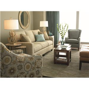 Bassett Custom Upholstery - Townhouse <b>Customizable</b> Queen Sleeper with Panel Arms and Turned Feet with Ferrules