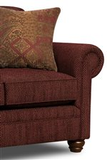 Rolled Arms, Turned Wood Feet and Complementary Throw Pillows Create Classic Style