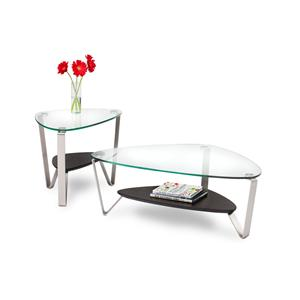 BDI Dino Triangular End Table with Glass Top