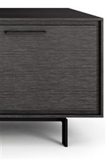 Wood Doors in Graphite Finish with Simple Modern Door Pulls