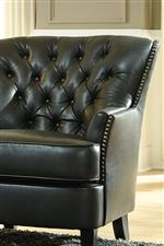 Club Style Faux Leather Chair with Tufted Back