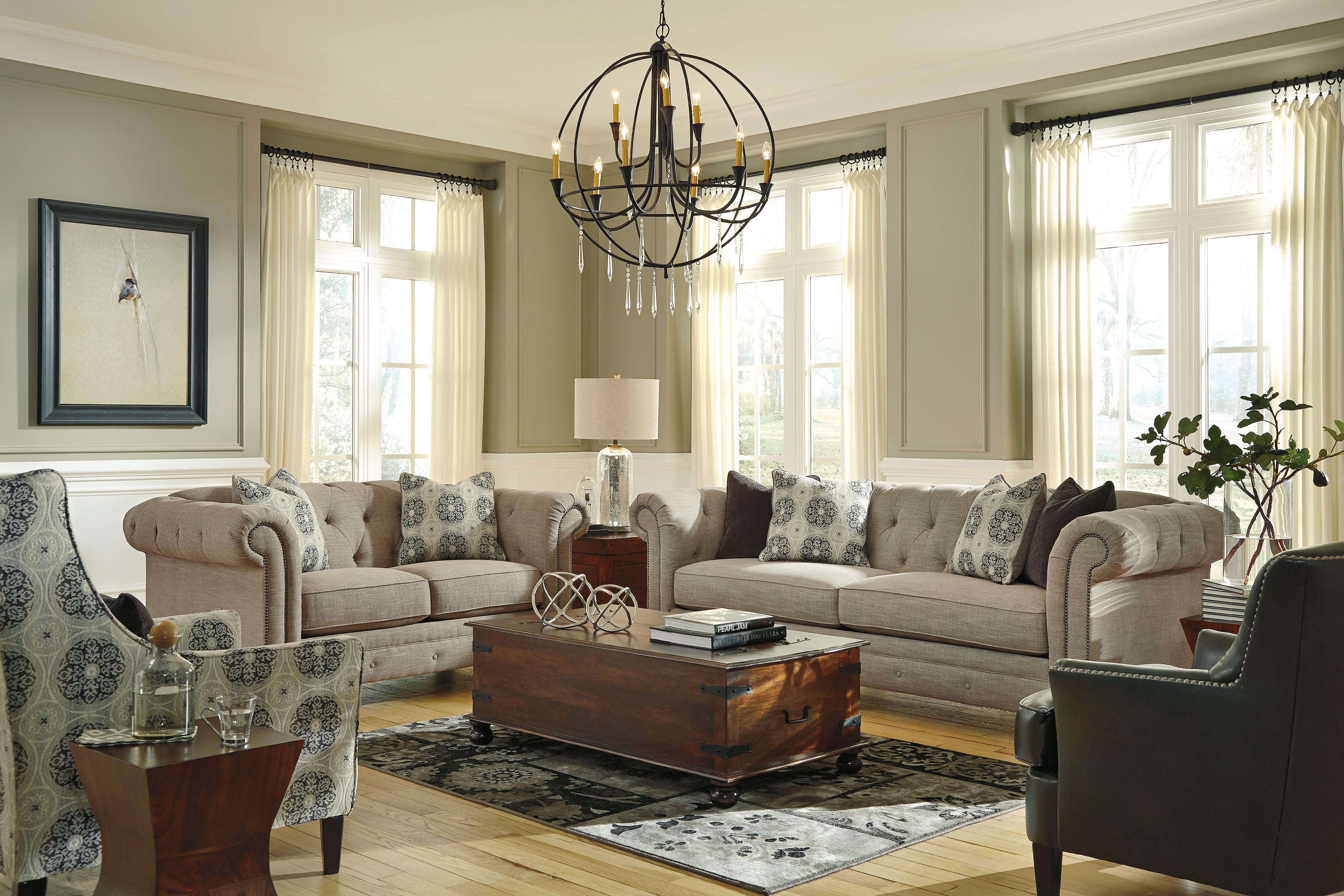 Living Room Sets With Accent Chairs Benchcraft Azlyn Transitional Accent Chair With Wing Back And