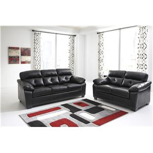 Benchcraft Bastrop DuraBlend - Midnight Contemporary Bonded Leather Match Loveseat