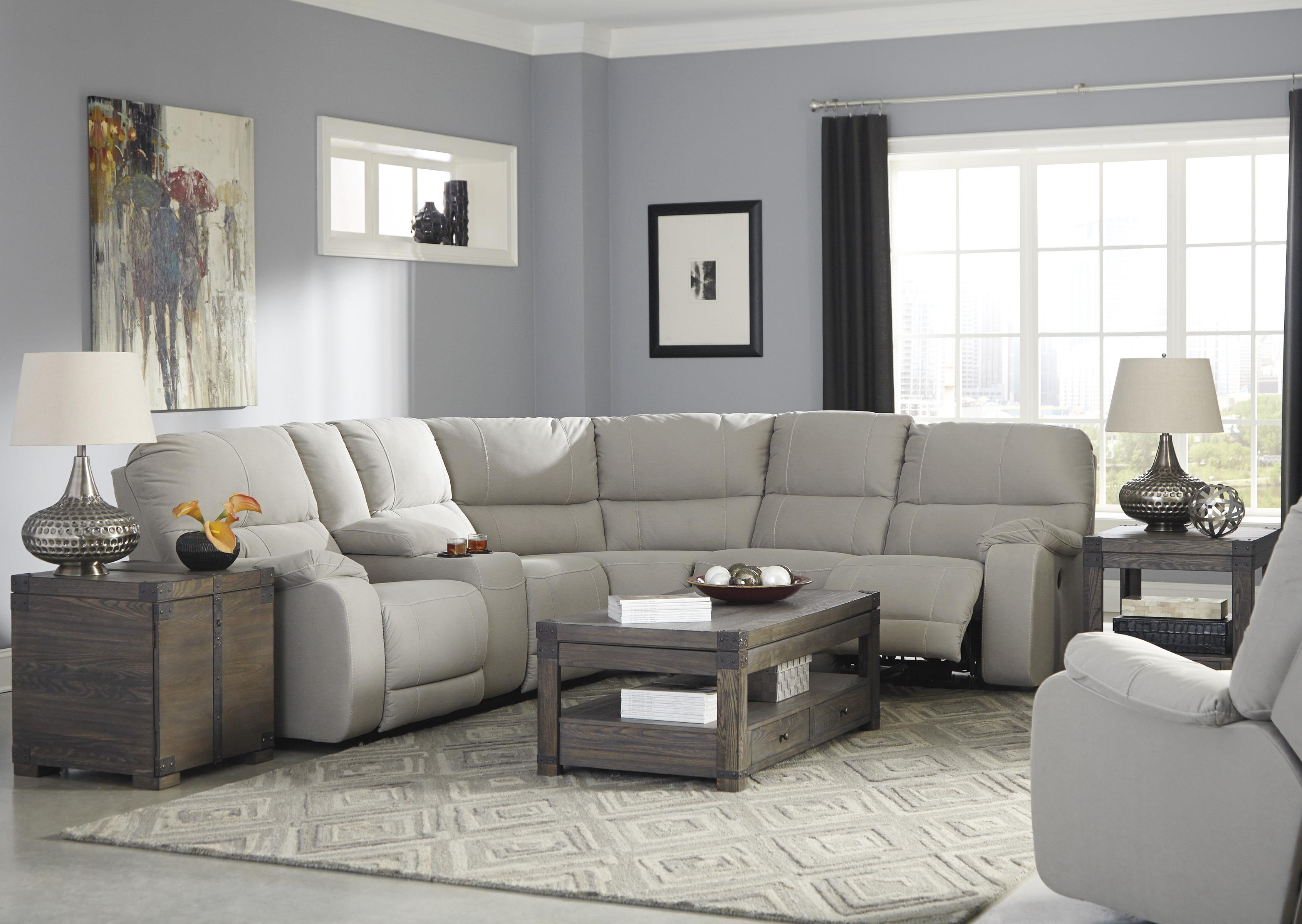 JB King Terri Power Reclining Sectional with Console EFO