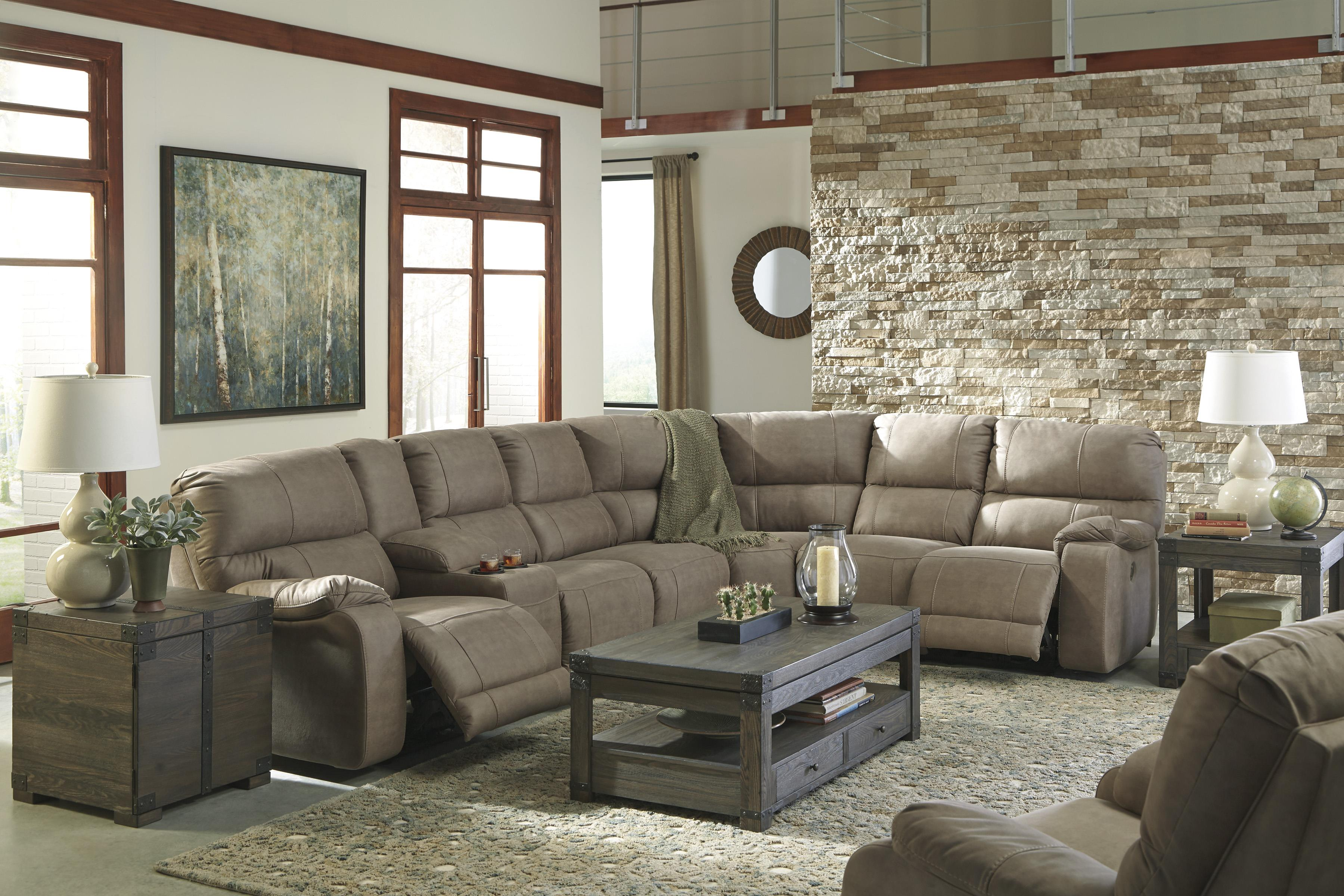 Benchcraft by Ashley Bohannon Power Reclining Sectional with Console - A1 Furniture u0026 Mattress - Reclining Sectional Sofa : sectional power recliner - Sectionals, Sofas & Couches