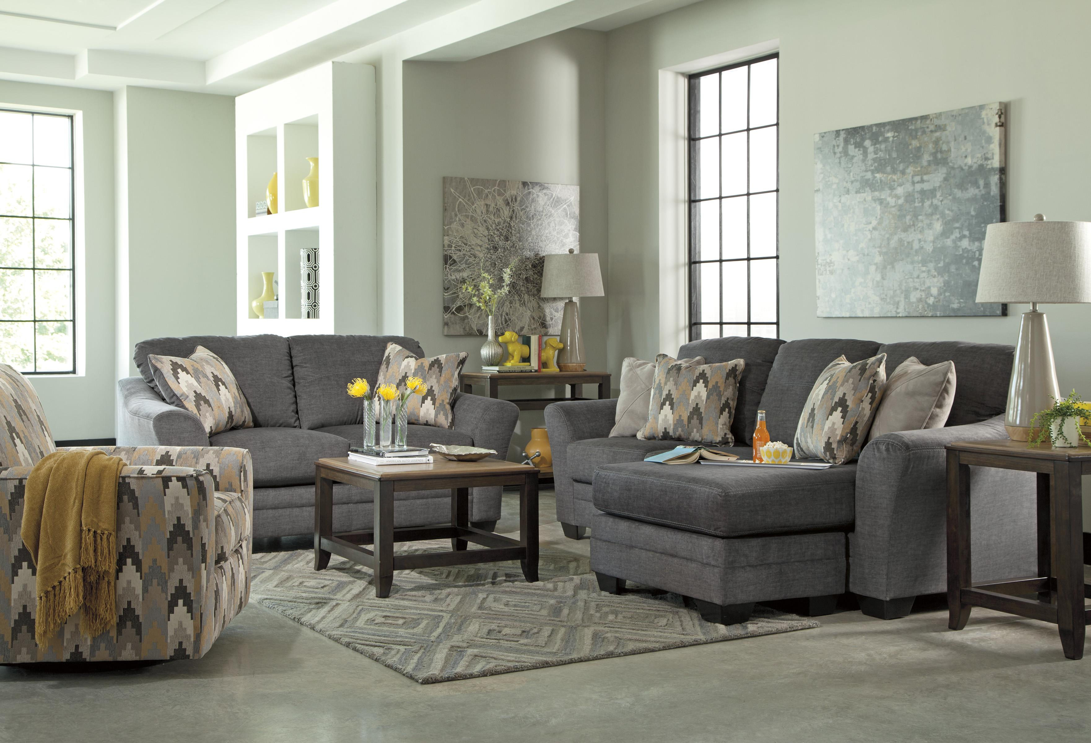 Marlo Furniture Living Room Benchcraft Braxlin Contemporary Sofa Chaise In Gray Fabric Marlo