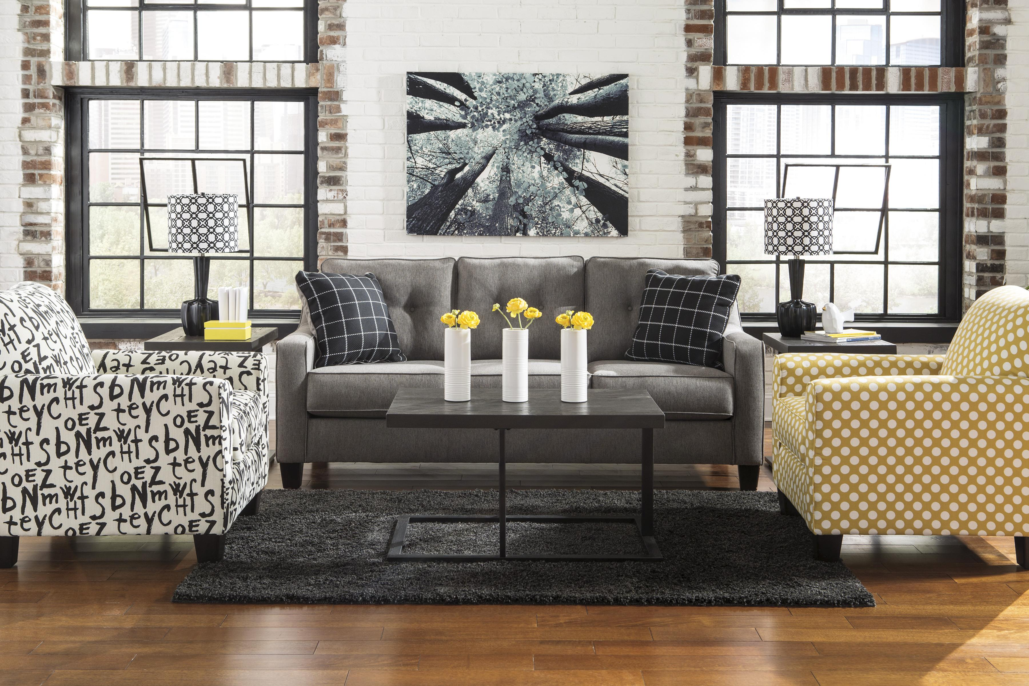 benchcraft brindon contemporary sofa with track arms tufted back