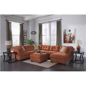 Benchcraft Delta City - Rust Contemporary Armless Loveseat with Tufted Back