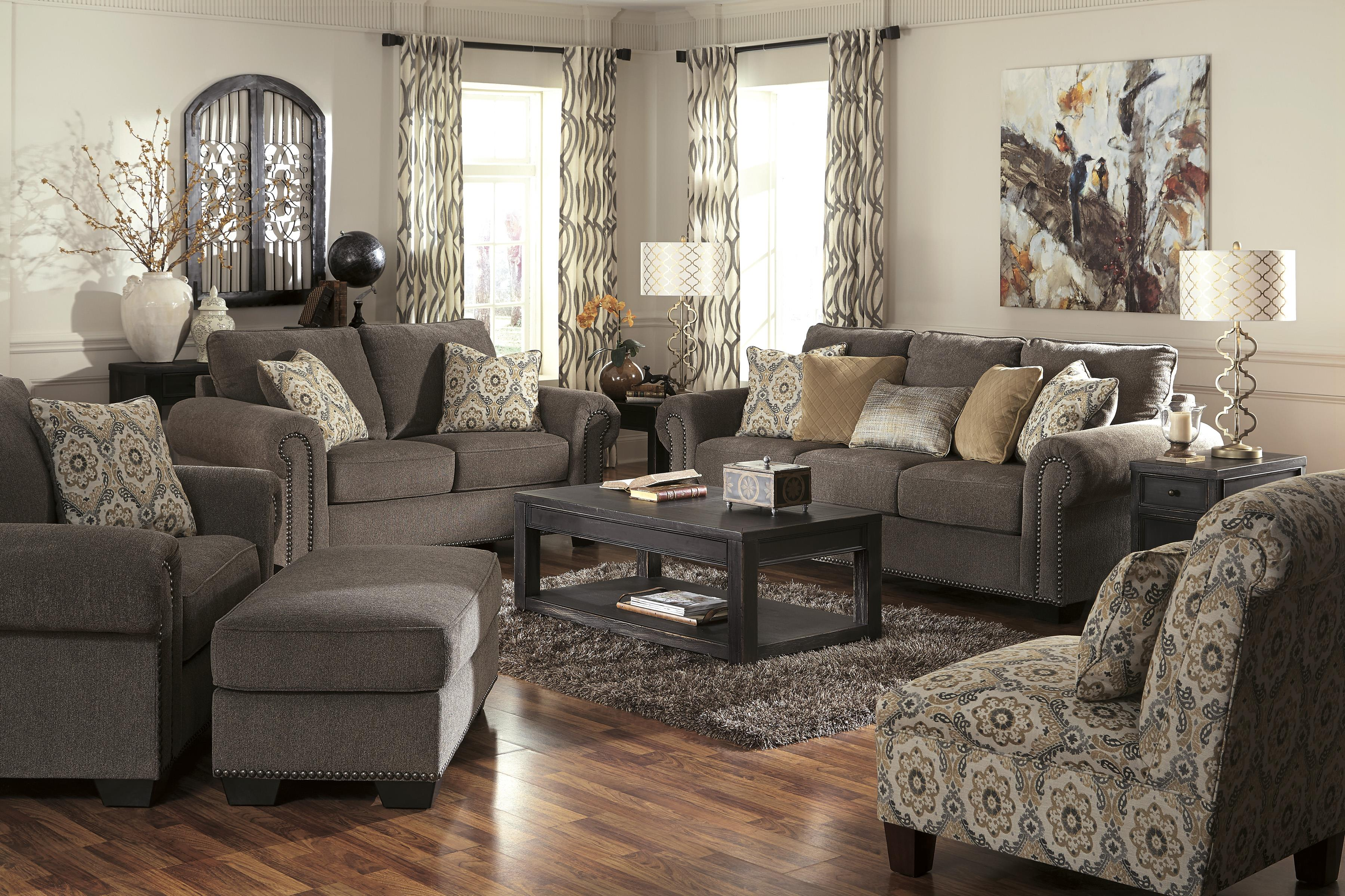 Benchcraft Emelen Transitional Sofa With Nailhead Trim Coil Seating Michael S Furniture Warehouse