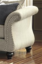 Flared, Rolled Arms with Nailhead Trim on Sofa and Loveseat
