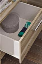 Replicated linen finish drawer interiors